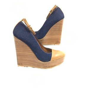 Zara Denim and Camel Wedge Ankle Strap Heels Sz 9